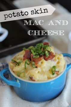 Creamy, dreamy macaroni and cheese made with two kinds of cheddar cheese and loaded with sour cream, chives, bacon, and green onions - just like your favorite potato skins.