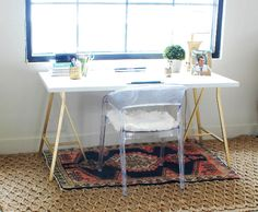 Ikea hack. paint desk legs with gold metallic paint! then top with white desktop! Little Green Notebook: White and Gold Design