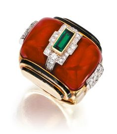 Coral, diamond, emerald and enamel ring