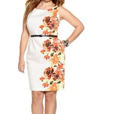 """Floral dress Size 18 Design runs down one side of the dress. Please note the dress runs small. Would fit 16-small 18. Fabric does not stretch. No belt with the dress. 44"""" bust 38"""" waist  48"""" hips 39"""" length fully lined but might still need slip underneath. Material is light. Back hidden zipper. Dress has pockets! Last pic also shows a small spot that can probably be washed off. Dress is cotton with polyester lining. Has like a 1"""" vent. Lowest price listed if purchased individually or BOGO…"""