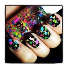 Beautiful nails 2016, Black nails ideas, Club nails, Disco nail, Fall nails 2016, Fashion nails 2016, Glitter nails, Glitter nails ideas