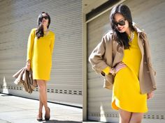 Adding bright yellow dress to my wish list. This one by Zara is so cute.