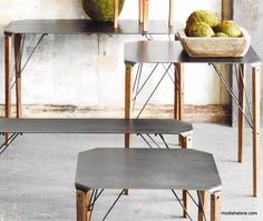 "Roost Rialto Console Table - Mid-century modern design is coupled with a rustic aesthetic in our collection of folded industrial steel and fir furniture. ""Bluing"" the molded steel creates a gunmetal finish with interesting flow marks and chromatic highlights while the fir legs are slightly distressed and waxed to enhance the textural interest.  Steel bracing provides strength and structural integrity while emphasizing the architectural lines of the collection.– Modish Store"