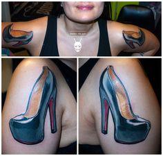 high heels pumps tattoo by Balázs Vadócz at Creation by Vadócz Tattooshop