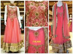 Include yourself in the glamour of the season with this elegant pink straight cut anarkali.