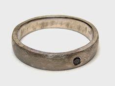 Men's promise ring,  18th white gold and black Diamond.