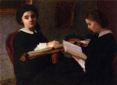 Henri Fantin-Latour ~ Two Young Women, Embroidering and Reading.