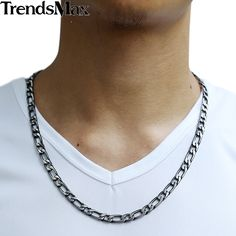 Gunmetal Stainless Steel Necklace Mens Boys Necklace Chain