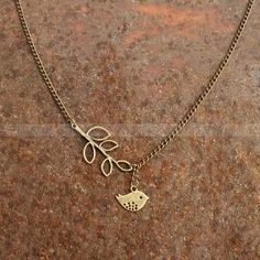 Vintage style bird charm necklace with leaves pendant, sweet gift for friends