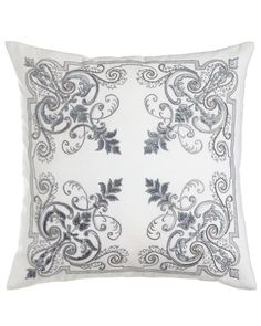 """Troyes Embroidered Accent Pillow, 22""""Sq., Natural/White - Callisto Home"""