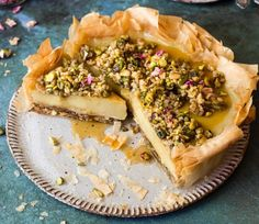 Vegan Dessert Recipes, Tart Recipes, Vegan Sweets, Cooking Recipes, Vegan Baklava, Vegan Tiramisu, Baklava Recipe, Custard Ingredients, Ma Baker