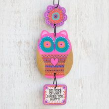 This Pink 'More Happy' Owl Air Freshener by Natural Life is perfect! Owl Mobile, Happy Owl, Owl Eyes, Car Accessories For Girls, Car Air Freshener, Whimsical Fashion, Diy Clay, Natural Life, Unique Gifts