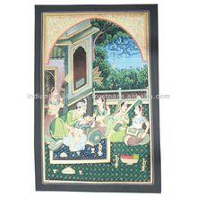 MUGHAL EMPEROR HAREM SCENE PAINTING INDIAN HOME DECOR MINIATURE ON SILK ART
