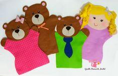 Felt Puppets, Felt Finger Puppets, Hand Puppets, Felt Crafts, Easy Crafts, Diy And Crafts, Crafts For Kids, Felt Coasters, Goldilocks And The Three Bears