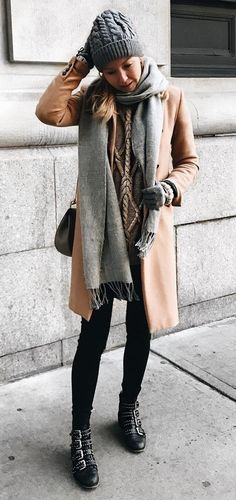 Camel Coat + Grey Scarf                                                                             Source