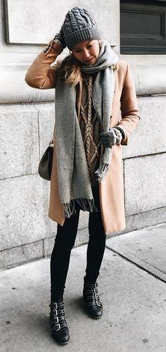 Camel Coat + Grey Scarf                                                                             Source