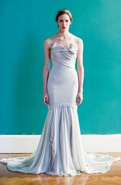 Bridal Gowns: Carol Hannah Mermaid Wedding Dress with Strapless Neckline and Dropped Waist Waistline