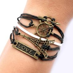 Cheap Eiffel Tower Rudder Arrow Love Bracelets For Big Sale!Eiffel Tower Rudder Arrow Love Bracelets is a necessary accessory in your hand.It is a perfect gift for her. Cute Bracelets, Layered Bracelets, Fashion Bracelets, Silver Bracelets, Arrow Bracelet, Perfect Gift For Her, Trendy Tattoos, Women's Accessories, Tower