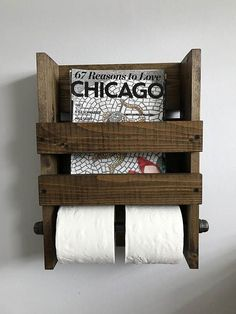 Rustic magazine and double toilet paper holder Wall mounted