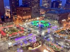 View of the Christmas lights on Public Square, downtown Cleveland, from the observation deck of Tower City Center.   http://www.prnewswire.com/news-releases/terminal-tower-observation-deck-at-tower-city-center-to-open-weekends-through-october-101992298.html