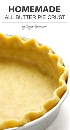 This is an all-butter pie crust recipe that will make flaky, buttery crust and good enough to eat without any filling at all, and just makes. Köstliche Desserts, Delicious Desserts, Dessert Recipes, Yummy Food, Plated Desserts, Kraft Recipes, Homemade Pie Crusts, Pie Crust Recipes, All Butter Pie Crust