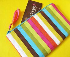 Rainbow stripes zipper pouch by oktak on Etsy, $18.00
