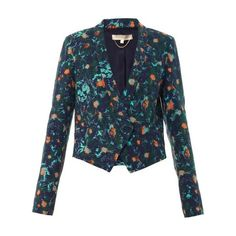 Vanessa Bruno Aster floral-print jacket (500 AUD) ❤ liked on Polyvore featuring outerwear, jackets, green multi, green jacket, vanessa bruno jacket, floral print jacket, flower print jacket and floral jacket
