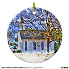 Shop Christmas Church Ornament created by Great_Outdoors.