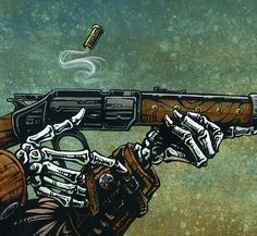Just a cool picture. The skeleton cowboy reloads his lever action rifle and hones in on his next target. Painting ProcessThe background was painted. Lever Action Rifles, Skeleton Art, Cowboy Art, Military Art, Western Art, Skull Art, Fantasy Art, Concept Art, Steampunk