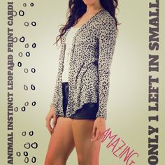 ⚡FLASH SALE⚡LEOPARD PRINT CARDI ONLY 1 LEFT IN S!✨ You'll Stay Warm while LQQKING Trendy in this Long Sleeve All-Over Leopard Print Cardi!  It's a Must Have for any Trendy Fashionista! Sweater Material: Rayon. Size: Only 1 Left in Small. Color: Gray. Coming from a smoke-free home! ✔Bundles ✔Free GiftTrades/PP! Thanks, Dolls!! And, As, Always, Stay Fab! Sweaters