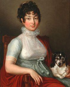 Johann Ernst Heinsius (attr.), Lady with her favorite dog, ca. 1805/10