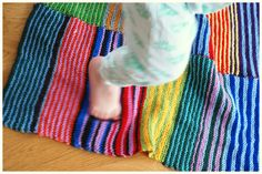 Handmade Vibeke strikketeppe i restegarn