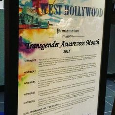@wehocity proclaims November #transgenderawarenessmonth