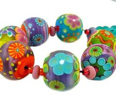 pixels lampwork beads glass artbead