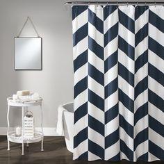 Lush Decor Navy Polyester Jigsaw Chevron Shower Curtain | Overstock.com Shopping - The Best Deals on Shower Curtains