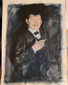 "Joy Liu on Instagram: ""2 hours NOFace Man with burning cigarette 🚬 🤔  #edvardmunch  #notfinished  #neverfinished  #oilpainting  #asadclaw"" Edvard Munch, Interesting Stuff, Burns, Mona Lisa, Joy, Artwork, Painting, Instagram, Work Of Art"