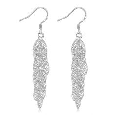 Best Gift silver earring Leaves drop brincos bijoux women SMTE674