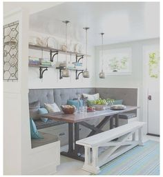 Kitchen Table With Storage, Kitchen Table Bench, Kitchen Seating, Kitchen Nook, New Kitchen, Kitchen Decor, Awesome Kitchen, Kitchen Modern, Built In Dining Room Seating