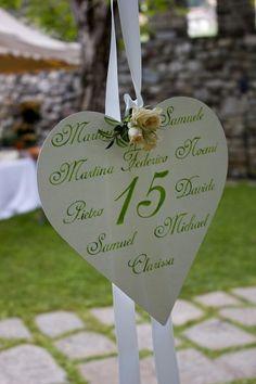 Tableau con cuori e numeri - Un cuore con i nomi degli ospiti. Place Cards, Place Card Holders, Christmas Ornaments, Holiday Decor, Wedding, Party, Wedding Tables, Weddings, Beauty