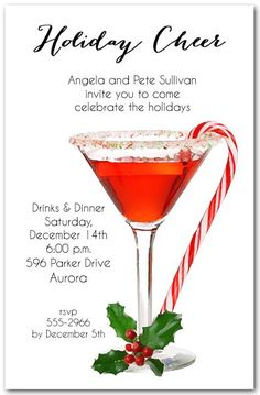Christmas Party Invitation Ideas New Candy Cane Martini Holiday Invitations Christmas Invitations Christmas Cocktails, Holiday Cocktails, Holiday Parties, Christmas Fun, Christmas Decorations, Paris Christmas, Italian Christmas, Christmas Foods, Homemade Christmas