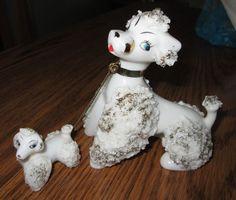 Vintage white spaghetti poodle w/puppy