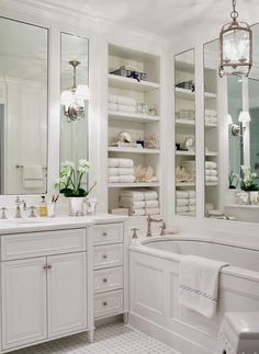 Traditional master bathroom decorating ideas traditional bathroom design ideas home ideas bedrooms bathrooms bathroom bathroom lighting Bathroom Renos, Bathroom Interior, Bathroom Ideas, Bathroom Designs, Bathroom Shelves, Bathroom Mirrors, Bathroom Remodeling, Bathroom Layout, Bathroom Organization