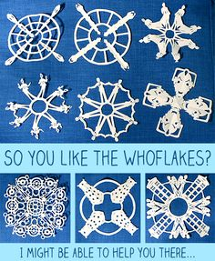 Printable Dr Who paper snowflake patterns.   Um, these may end up all over my office once it snows.   @Sara Eriksson Eriksson Treible