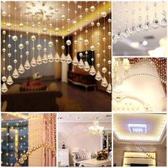 String Curtain Room Divider Crystal Beads Door Window Panel Wedding Home  Modern