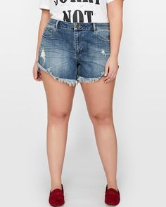 e2b0643e5768f Enjoy the warmth with these sexy plus size jean shorts by Love  amp  Legend.  Addition Elle
