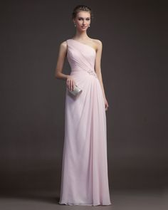 Cheap Charming Sheath/Column One Shoulder Beading Floor-length Chiffon Prom Dresses From Highly Praised Online Shop