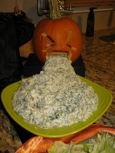 Really really gross Halloween food.  Don't  even know why I  would pin it! This pumpkin puking pumpkin.