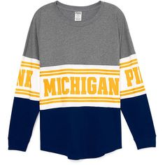 PINK University of Michigan Varsity Crew ($65) ❤ liked on Polyvore featuring tops, t-shirts, tops/outerwear, white, white top, graphic tops, crew top, oversized tops and slouchy tops