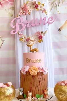 Swoon over this pretty woodland 1st birthday party! The birthday cake is amazing!! See more party ideas and share yours at CatchMyParty.com