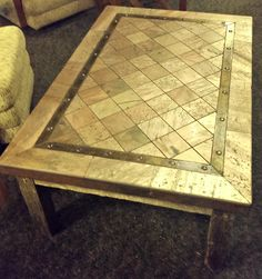 Distressed Tile Coffee Table